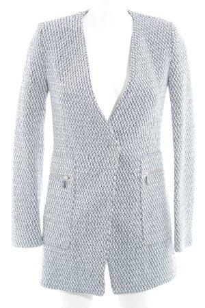 Zara Basic Übergangsmantel weiß-dunkelblau abstraktes Muster Business-Look