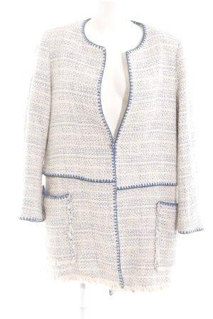 Zara Basic Übergangsmantel wollweiß-blau Street-Fashion-Look