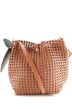 Zara Basic Gekruiste tas cognac-camel losjes gebreid patroon casual uitstraling