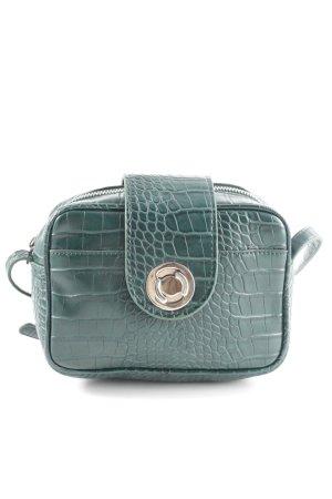 Zara Basic Umhängetasche grün-goldfarben Allover-Druck Casual-Look
