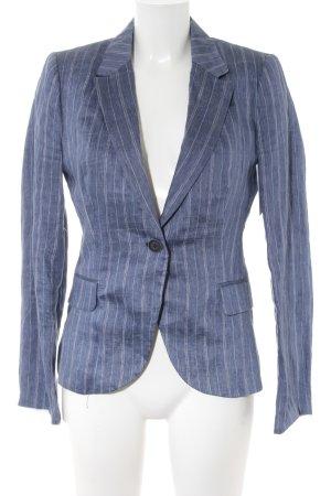 Zara Basic Unisex blazer staalblauw-wit gestreept patroon zakelijke stijl