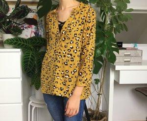 Zara Basic V-Neck Bluse mit Leoparden Print M/38