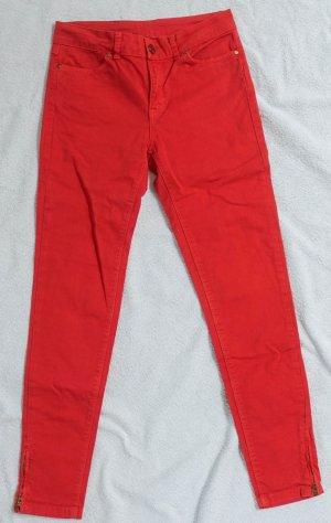 Zara Basic Jeans a sigaretta rosso mattone Cotone