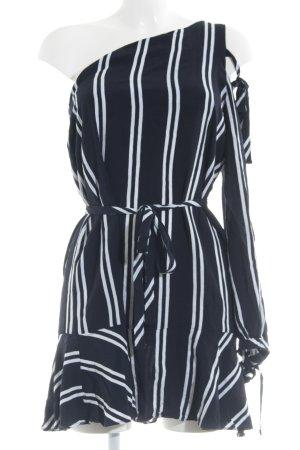 Zara Basic Volantkleid dunkelblau-weiß Streifenmuster Boho-Look