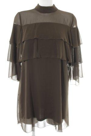 Zara Basic Volantkleid olivgrün Party-Look