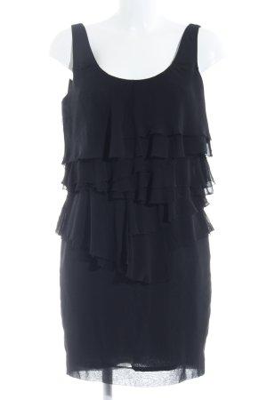 Zara Basic Volante jurk zwart extravagante stijl