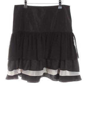 Zara Basic Jupe à volants noir-blanc style d'affaires