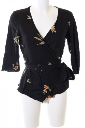 Zara Basic Wraparound Blouse black flower pattern casual look