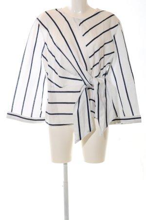 Zara Basic Wraparound Blouse white-dark blue striped pattern elegant