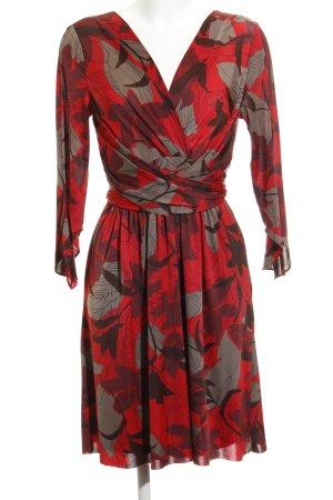 Zara Basic Wickelkleid rot-dunkelrot abstraktes Muster extravaganter Stil