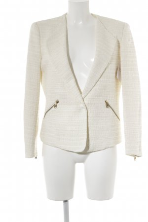 Zara Basic Wool Blazer cream-natural white horizontal stripes casual look