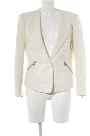 Zara Basic Woll-Blazer creme-wollweiß Ringelmuster Casual-Look
