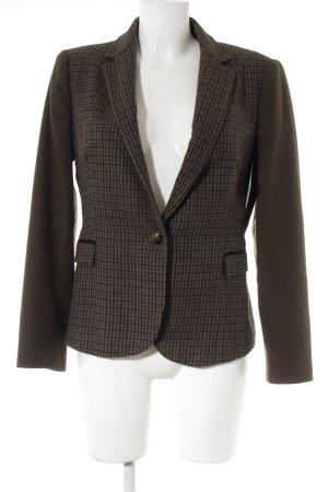 Zara Basic Blazer de lana marrón grisáceo-azul oscuro estampado a cuadros
