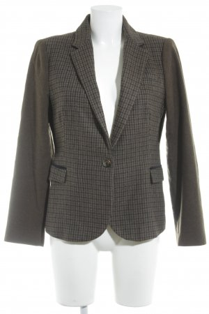 Zara Basic Woll-Blazer graubraun-dunkelblau Karomuster Vintage-Look