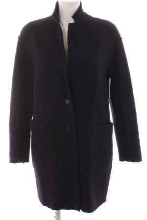 Zara Basic Wollmantel dunkelblau meliert Casual-Look
