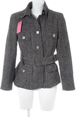 Zara Basic Wollmantel grau-schwarz Streifenmuster Business-Look