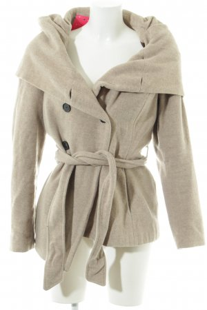 Zara Basic Cappotto in lana beige chiaro stile semplice
