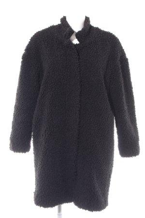 Zara Basic Wollmantel schwarz Kuschel-Optik