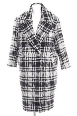 Zara Basic Wollmantel schwarz-wollweiß grafisches Muster Casual-Look
