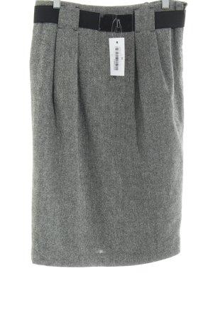 Zara Basic Wollen rok grijs-zwart gestippeld zakelijke stijl