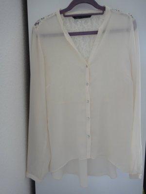 Zara beige Bluse mit Spitze im Rücken Gr. L (40)