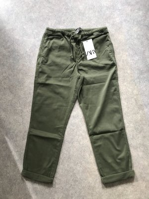 Zara bequeme highwaist Hose in khaki M