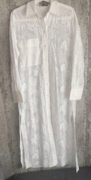 Zara Bestickte Tunika mit Tasche weiß / gebrochenweiß Gr. L Neu mit Etikett