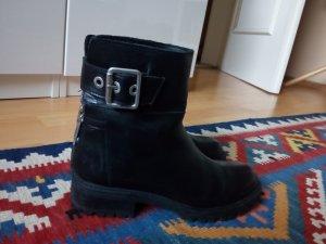 Zara Biker Boots Stiefelettenj schwarz Leder 35