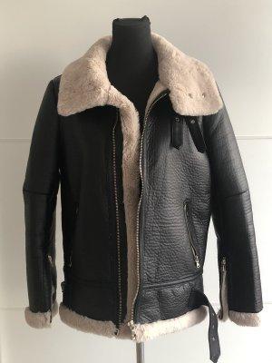Zara Chaqueta de motociclista negro-crema