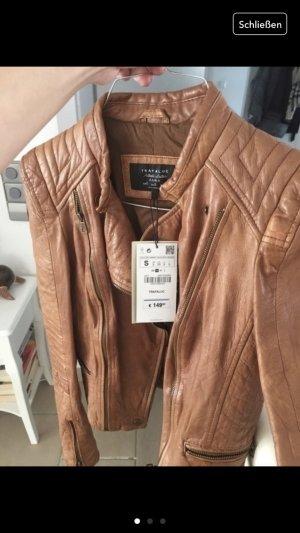 Zara Veste en cuir cognac-brun