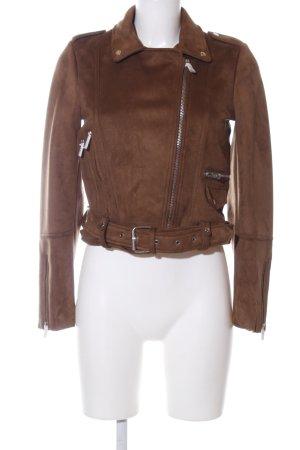 Zara Veste motard brun style décontracté