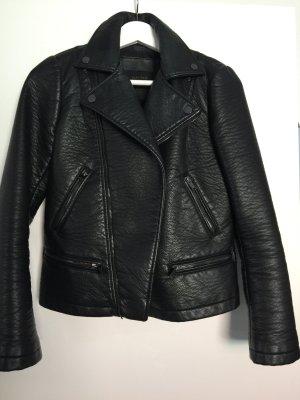Zara Basic Chaqueta de cuero negro