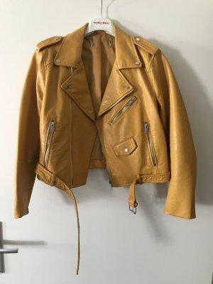 Zara Faux Leather Jacket yellow