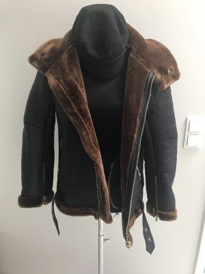 Zara Woman Veste motard noir-brun
