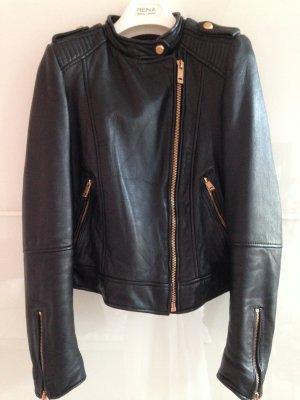 Zara Veste motard noir-doré cuir