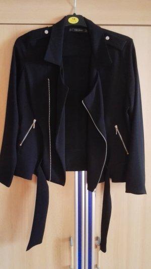 Zara Bikerjacke Stoffjacke mit silbernen Details Größe 34