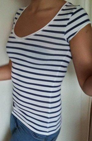 Zara blau-weiß-gestreiftes T-Shirt Gr. S