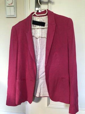 Zara Blazer largo blanco-rosa