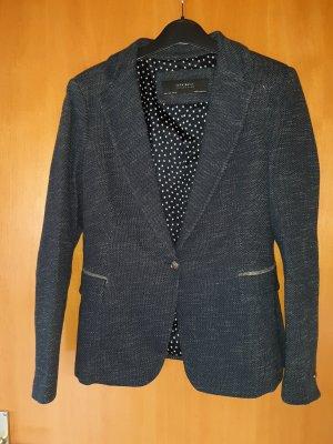 Zara Tweed Blazer dark blue-grey mixture fibre