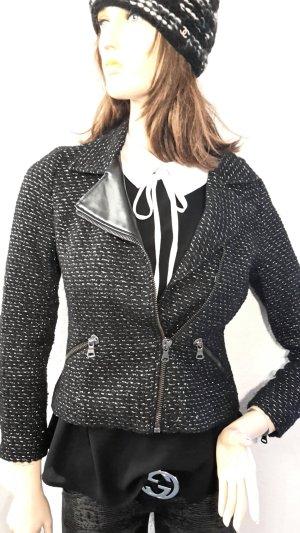 Zara Blazer Boucle' asymetrischer Zipper schwarz Lurex Gr XS von Zara Trafaluc