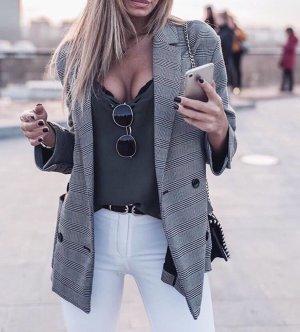 Zara Blazer boyfriend argenté-noir