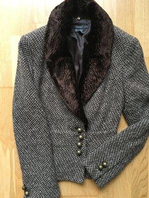 Zara Blazer Jacke 36 M braun wollweiß, Gold Knöpfe