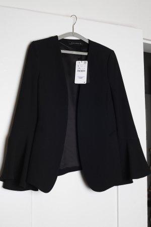 Zara Blazer Jacke Volants Glockenärmel 36 S Volantdetail schwarz black