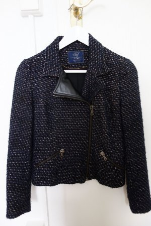 ZARA Blazer mit Kragen und Reißverschluss, schwarz-dunkelblau, Größe M