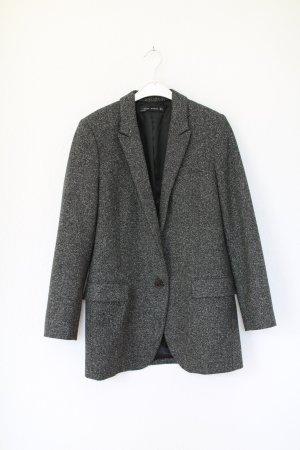 Zara Blazer Wolle Longblazer Vintage Look Grau Gr. S Blogger Look