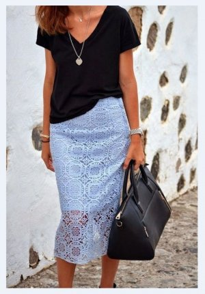 Zara Bleistiftrock Spitzenrock High Waist Pencil Skirt Häkelspitze blau hellblau
