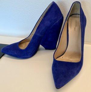 ZARA block Heels blau