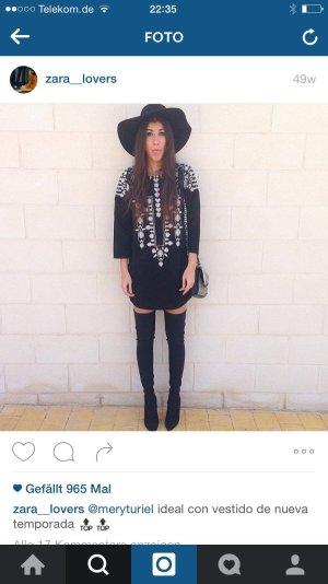zara blog blogger kleid schwarz boho Stickerei neu ausverkauft 36