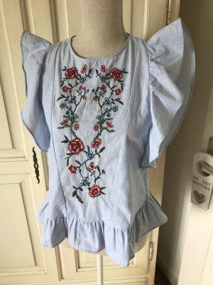 Zara Blogger Bluse mit Stickereien und Rüschen neu