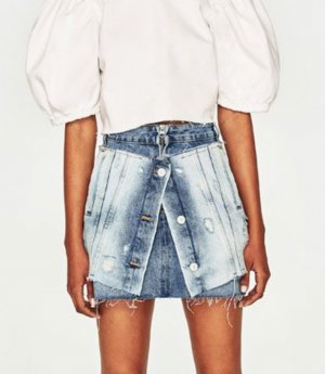 Zara Blogger Boyfriend Jeansrock Double Layer 2 in 1 used Knöpfe high waist NP 60 ausverkauft